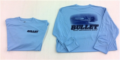 Lids Custom Hats >> BULLET LONG SLEEVE PERFORMANCE JERSEY BLUE WITH BOAT GRAPHICS